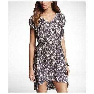 EXPRESS Ikat Print Hi-Lo Hem Elastic Waist Dress